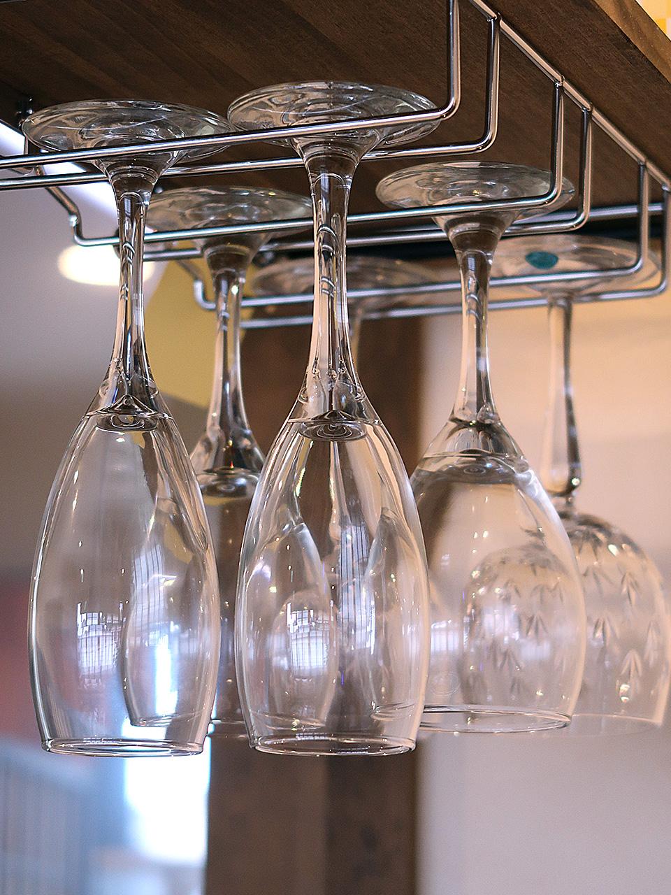 ブーランジェリーオショウ 店内のワイングラス